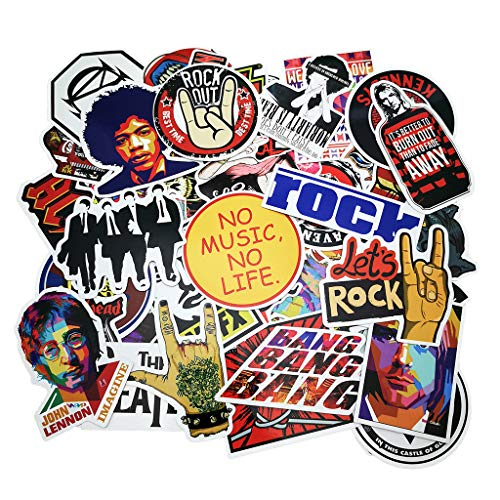 Punk Rock Band Stickers (160pcs) Stickers Pack Rock and Roll Music Stickers Vinyl Waterproof Decals for Electric Guitar Bass Drum Laptop Skateboard Motorcycle