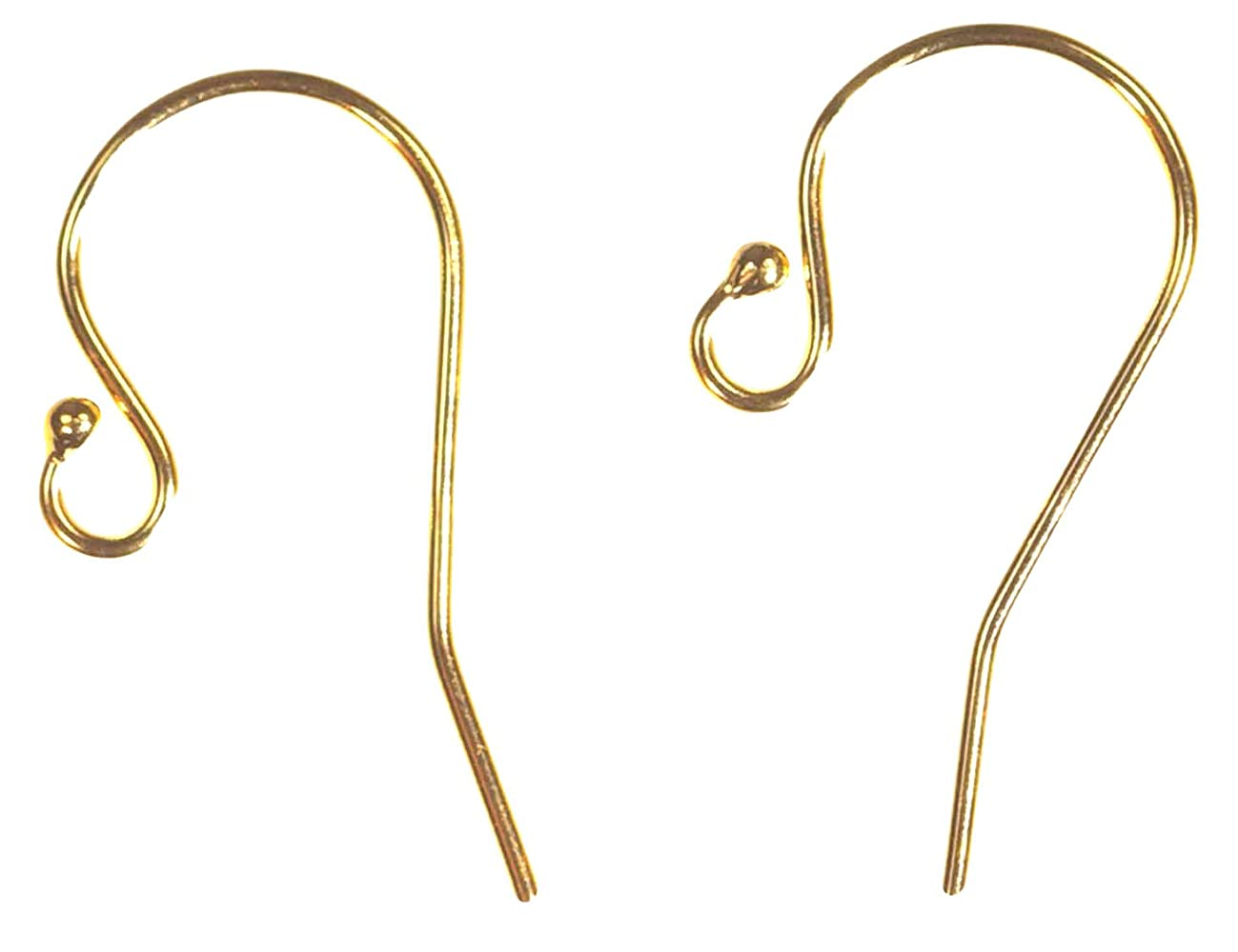 6 Pairs 14k Yellow Gold-Filled Ball End Ear Wire 11.5x20.0mm (0.66mm)