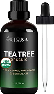 Tea Tree Essential Oil by Fiora Naturals- 100% Pure Organic Tea Tree Oil, for Face, Hair, Skin, Acne, Scalp, Foot and Toenails. Pure Melaleuca Alternifolia, 1 oz /30ml