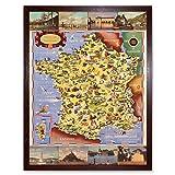 Batany 1947 Pictorial Map France Railway Tourism Art Print Framed Poster Wall Decor 12x16 inch Carte Chemin de Fer Tourisme Affiche Mur Déco