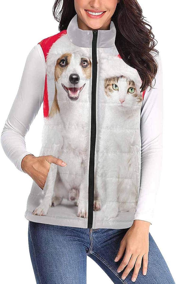 InterestPrint Women Vest Stand Collar Lightweight Padded Winter Outwear Christmas Decorations