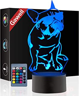 French Bulldog 3D Xmas Decoration Illusion Night Lamp Beside Table Lamp, Gawell 7 Color Changing Touch Switch Halloween Gift Lamps with Acrylic Flat & ABS Base & USB Cable Dog Lover Theme Toy