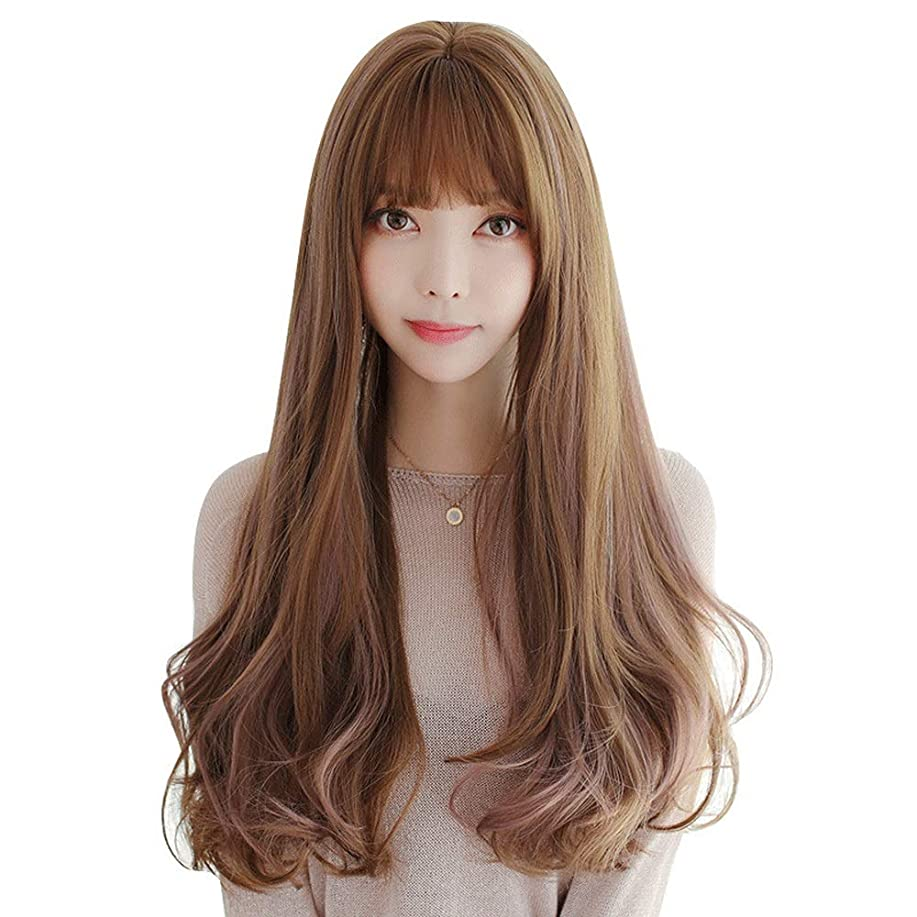 公演利点に同意するSRY-Wigファッション ヨーロッパとアメリカの女性の波状かつら前髪ミドル丈合成コスプレかつら日常用または衣装 (Color : 01, Size : フリー)
