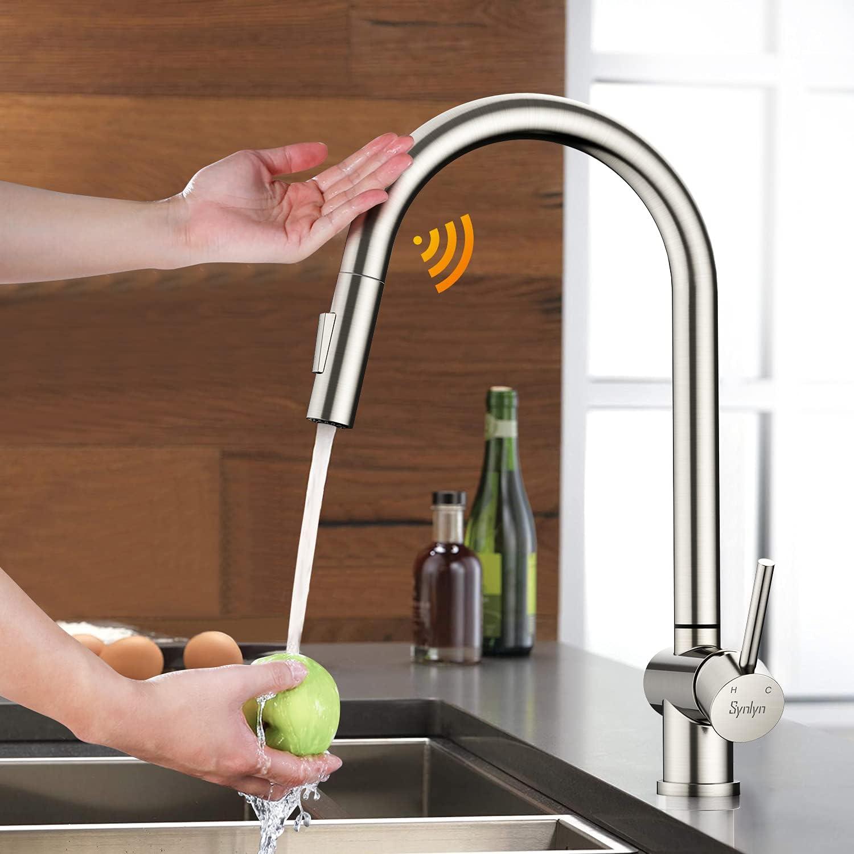 Synlyn Grifo de cocina con sensor táctil, extensible, con 2 tipos de chorro, de acero inoxidable 304, con giro de 360°, monomando.