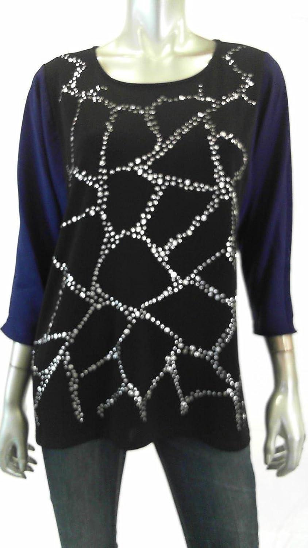Alfani Studded colorblock Women's Small ScoopNeck Blouse bluee S
