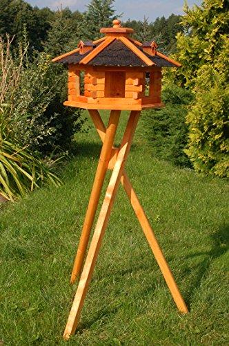 Vogelhaus Futterhaus Vogelvilla mit Solarbeleuchtung und Silo klein und Groß V16 (Schwarz, groß mit Ständer), Vogelfutterhaus