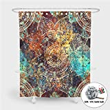 Enhome Anti-Schimmel Wasserdicht Duschvorhang Für Badezimmer, 3D Mandala Muster Design Wasserdichten Polyestergewebe Badezimmer Vorhang Gewebe Mit 12 Duschvorhangringe (Retro,90x180cm)