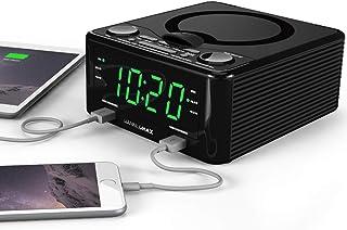 HANNLOMAX HX-300CD Top Loading CD Player, PLL FM Radio, Digital Clock, Dual Alarm, 1.2 inches Green LED Display, Dual USB ...