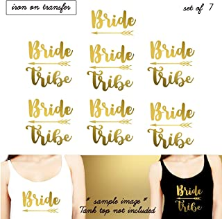 Set 7 Iron on transfer,1- Bride, 6-Bride Tribe, Iron on transfer vinyl, DIY Heat Transfer iron on transfers Bridal Party (#SS)