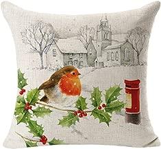 A Christmas Linen Square Throw Flax Pillow Case Decorative Cushion Pillow Cover by Alburba