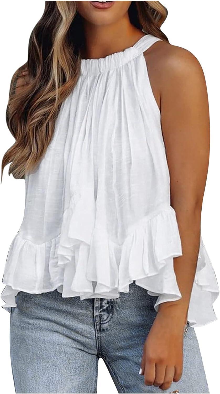 Euone_Clothes Women's Summertime Fashion O-Neck Vest Layered Ruffles Print Sleeveless Top