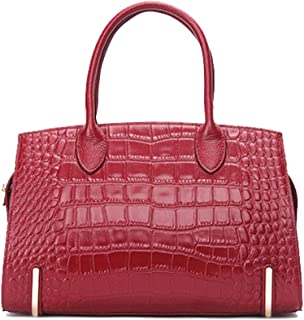 Women's Luxury Leather Handbags Large Designer Ladies' Shoulder Bag Simple Leisure for Outdoor Travel,Red,32 * 15 * 19cm