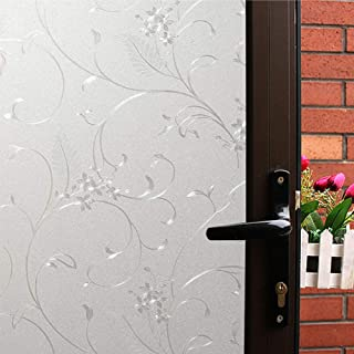 Mikomer Privacy Window Film Little Flowers Static Cling Glass Door Film, Non Adhesive Heat Control Anti UV Window Cling fo...