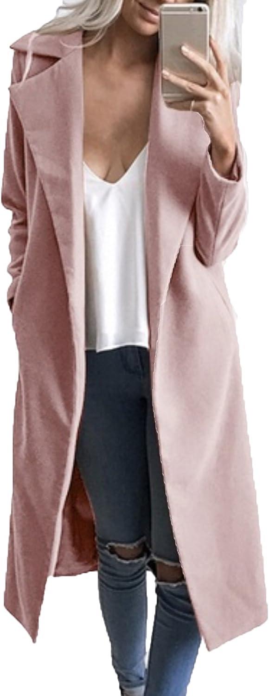 JOKHOO Women Woolen Coat Lapel Open Front Overcoat Long Sleeve Winter Trench Coat Outwear