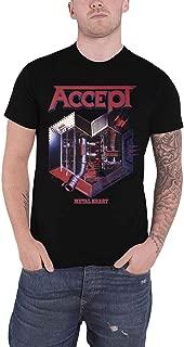 Accept T Shirt Metal Heart Band Logo Official Mens Black