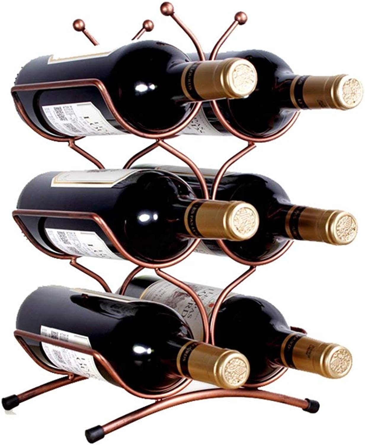 Red Wine Shelf 6 Bottles of Metal Workbench Wine Rack for Storage and Display (Size  25  16  36cm)