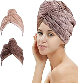 2 Pack Hair Drying Towels, Hair Wrap Towels, Super Absorbent Microfiber Hair Towel Turban with Button Design to Dry Hair Q...