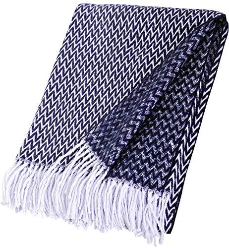 Zickzack - Manta de algodón con flecos (140 x 200 cm), color azul marino
