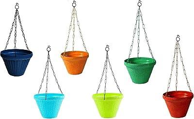 PlantaZee Juhi Pot Plant Container (Set of 6), 9 Inch - Multicolour