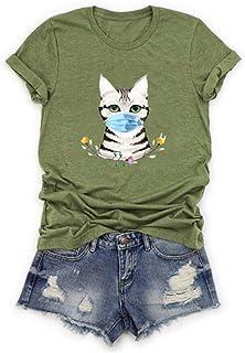 LINKIOM Plus Size Women Short Sleeve Dog Printed O-Neck Tops Tee T-Shirt Blouse