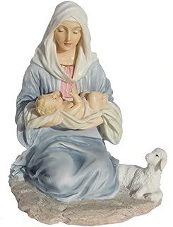 6.13 Inch Mary Kneeling Holding Baby Jesus Figurine - Light Color