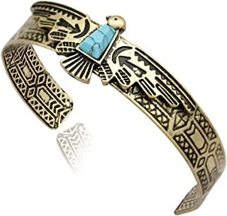Q&Q Fashion Vintage Tribal Southwest Turkey Eagle Blue Stone Aztec Cowgirl Bracelet Bangle Cuff