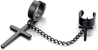 1 Pezzo Nero Croce Orecchini a Cerchio, Collegamento Chain Clip-on, Orecchini da Uomo Donna, Acciaio Inossidabile