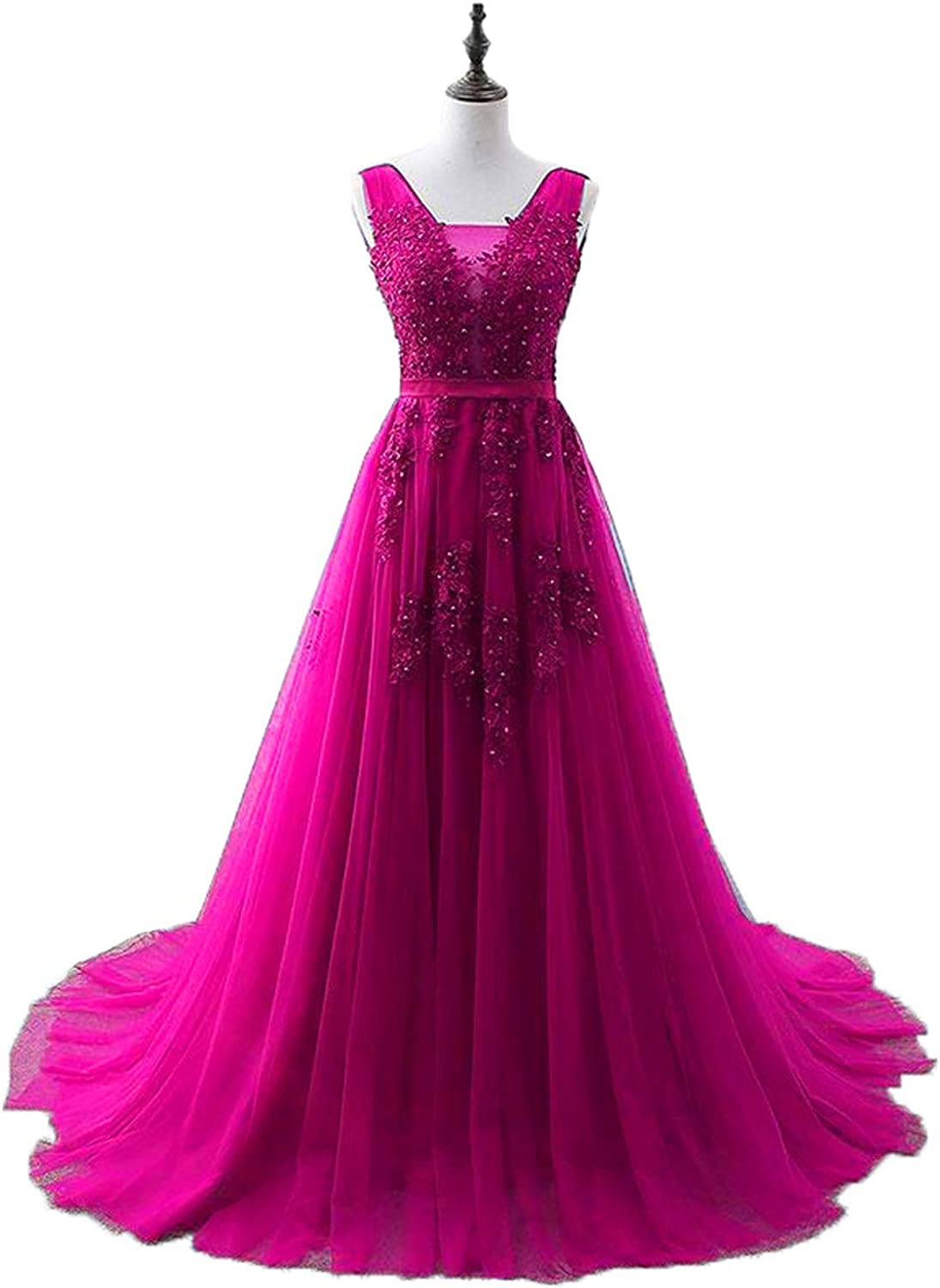 EileenDor Women's Lace Appliques Tulle Long Evening Dresses V Neck Sleeveless Beaded Laceup Formal Dress