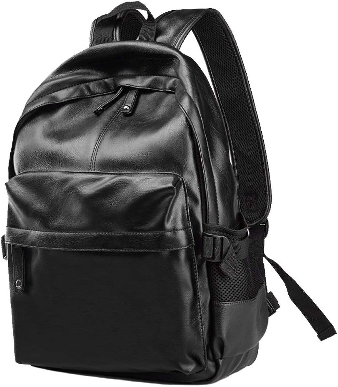 Simple Retro Casual Black Backpack, WearResistant PU Leather Waterproof Men's Hiking Rucksack, 25L Large Capacity Outdoor Camping knapsack, 15.6' Laptop Daypack Travel Bag Student Bag Bookbag