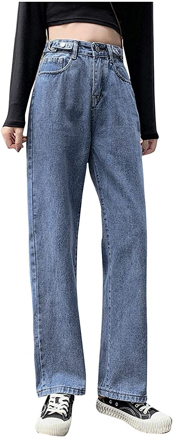 Fashion Y2K Jeans for Women High Waisted Jeans Casual Baggy Straight Leg Jeans Denim Trousers with Zipper-Button Closure