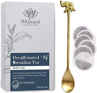 Whittard Tea Decaffeinated Breakfast Tea 50 Traditional Teabags (WHITTARD Decaf English Breakfast 50 Traditional Teabags with an Elegant spoon)