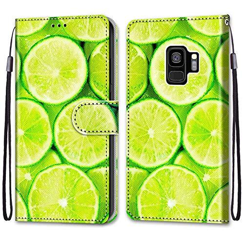 Nadoli Handyhülle Leder für Samsung Galaxy S9 Plus,Bunt Bemalt Erfrischend Limette Trageschlaufe Kartenfach Magnet Ständer Schutzhülle Brieftasche Ledertasche Tasche Etui