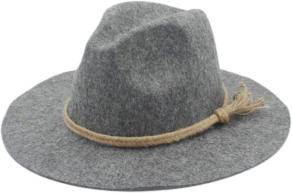 New Men Women Wool Fedora Hat Dance Party Hat Casual Wild Jazz Hat Adult Fascinator Church Hat Size 56-58CM (Color : Light Gray, Size : 56-58)