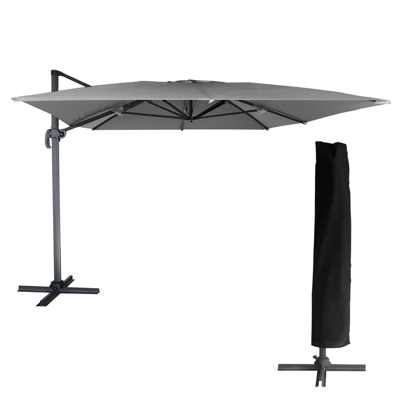Molokai: sombrilla rectangular con mástil lateral, 3 x 4 m, gris, mástil gris + funda.: Amazon.es: Jardín