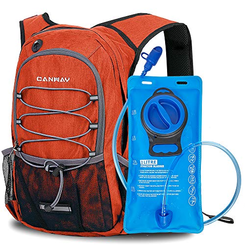 CANWAY Hydration Backpack, 2L BPA Free & Leak-Proof Hydration Water Bladder, Lightweight Day Hike Backpack for Hiking, Running, Cycling, Climbing, Rain Cover Included, 15L-Pumpkin