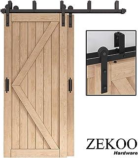ZEKOO 5-16 FT Low Ceiling Bypass Barn Door Hardware Double Door Kit Rustic Black Steel Metal Rail Roller Set (5 FT New Style Bypass kit)