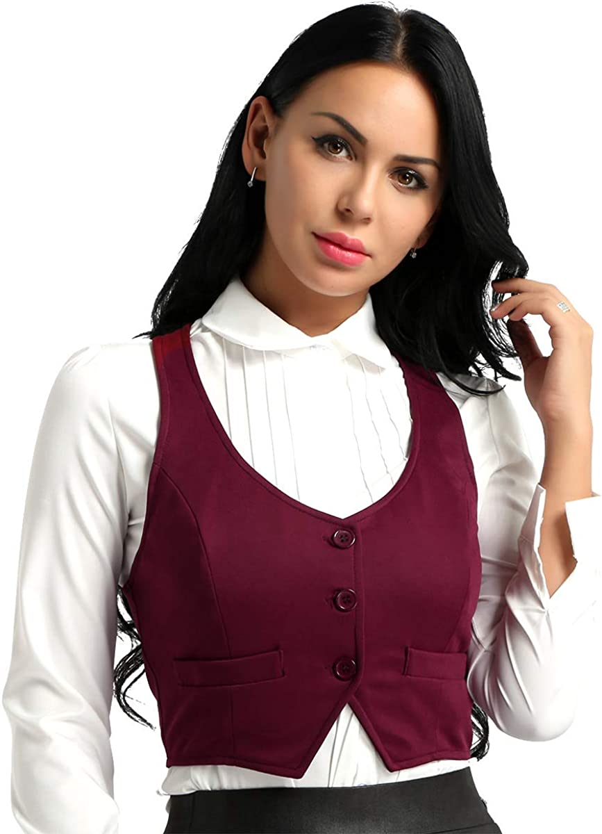 Freebily Women's V-Neck Slim Fit Racerback Dressy Suit Vest Shirts Waistcoat