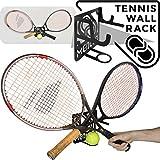 Support mural rangement pour raquette de tennis (100% Acier) (Noir, One size)