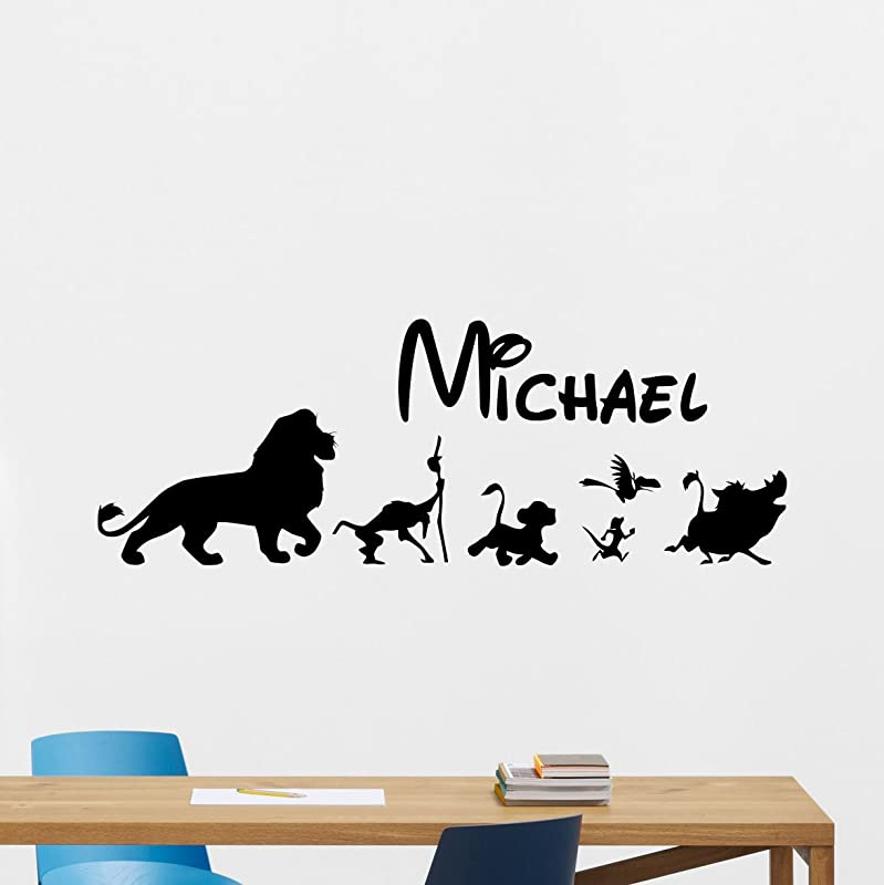 Personalized Lion King Wall Decal Custom Name Disney Cartoons Vinyl Sticker Simba Timon Pumbaa Scar Mufasa Nursery Wall Decor Kids Baby Room Wall Art Wall Custom Children Mural 199crt