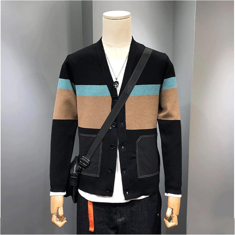 GYZX Autumn Men Casual Cardigan Sweater Striped Pockets Knit Outwear Sweater Men (Color : Black, Size : XXXXXL Code)