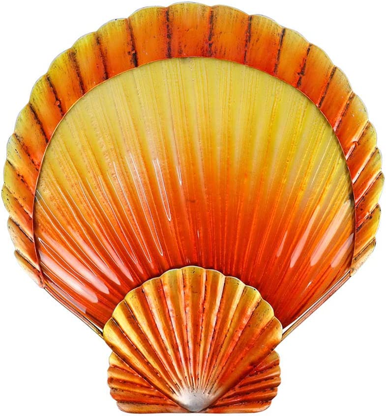 Liffy Metal Shell Wall Art Outdoor Scallop Decor Ocean Hanging Glass Sculpture for Pool or Bathroom
