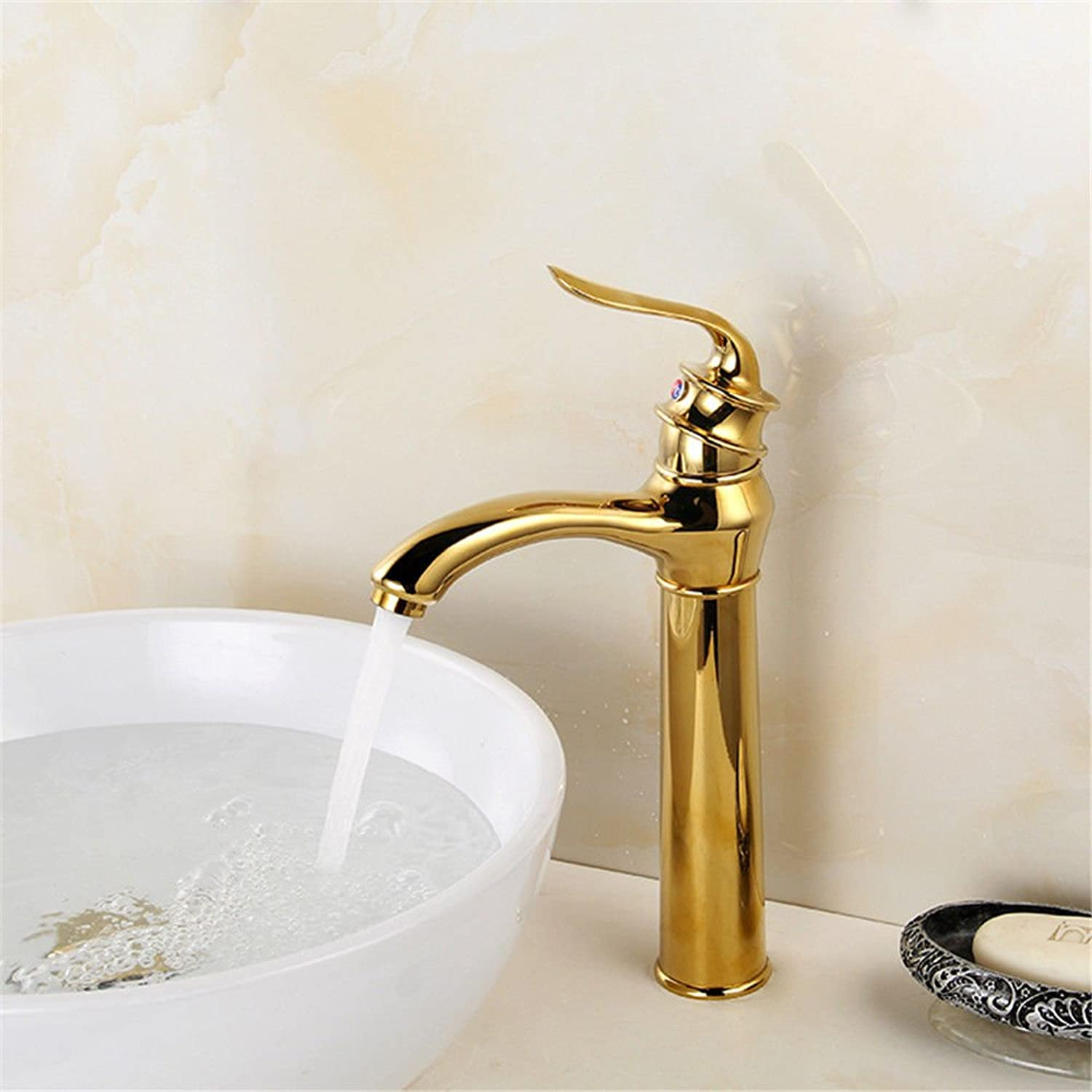 AQMMi Bathroom Sink Mixer Tap gold 1 Hole Single Lever Taps for Bathroom Sink