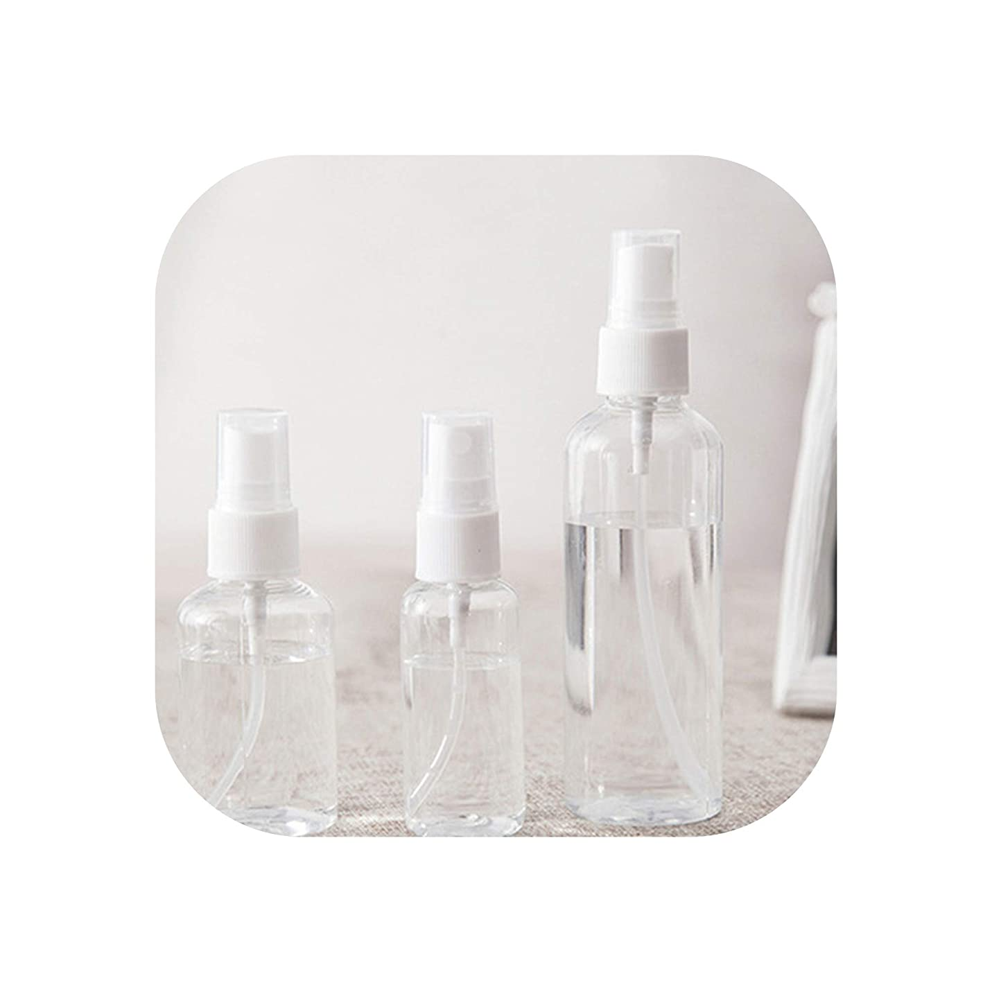 透明に紀元前画像1 PCS 30ミリリットルの50ミリリットル100ミリリットルランダムな色旅行透明なプラスチック製の香水アトマイザースモールミニ空のスプレー詰め替えボトル、100ミリリットル