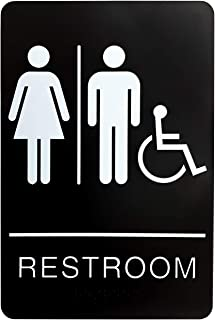 Unisex Men And Women Handicapped Bathroom And Restroom Signs - ADA Approved Public And Private Indoor Outdoor Areas With Raised Tactile Braille Writing System (1 Pack, Unisex Handicapped)