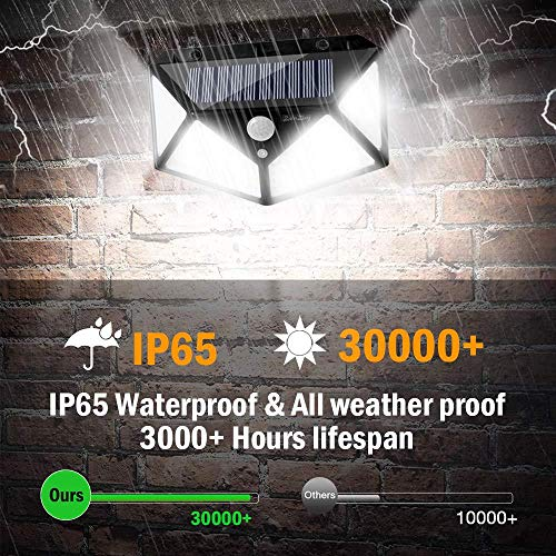 Solar Light Outdoor 100 LED Waterproof Security Wall Night Light with Motion Sensor 270° Wide Angle for Pathway Porch Yard Garage Garden Fence Walkway Driveway 2 Pack