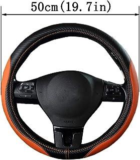 Geflochtenes Leder Auto Lenkradbezug atmungsaktiv Anti Slip für Scania R P und S SUV Bus RV LKW Bagger Bulldozer Kran (Schwarz Orange),50cm