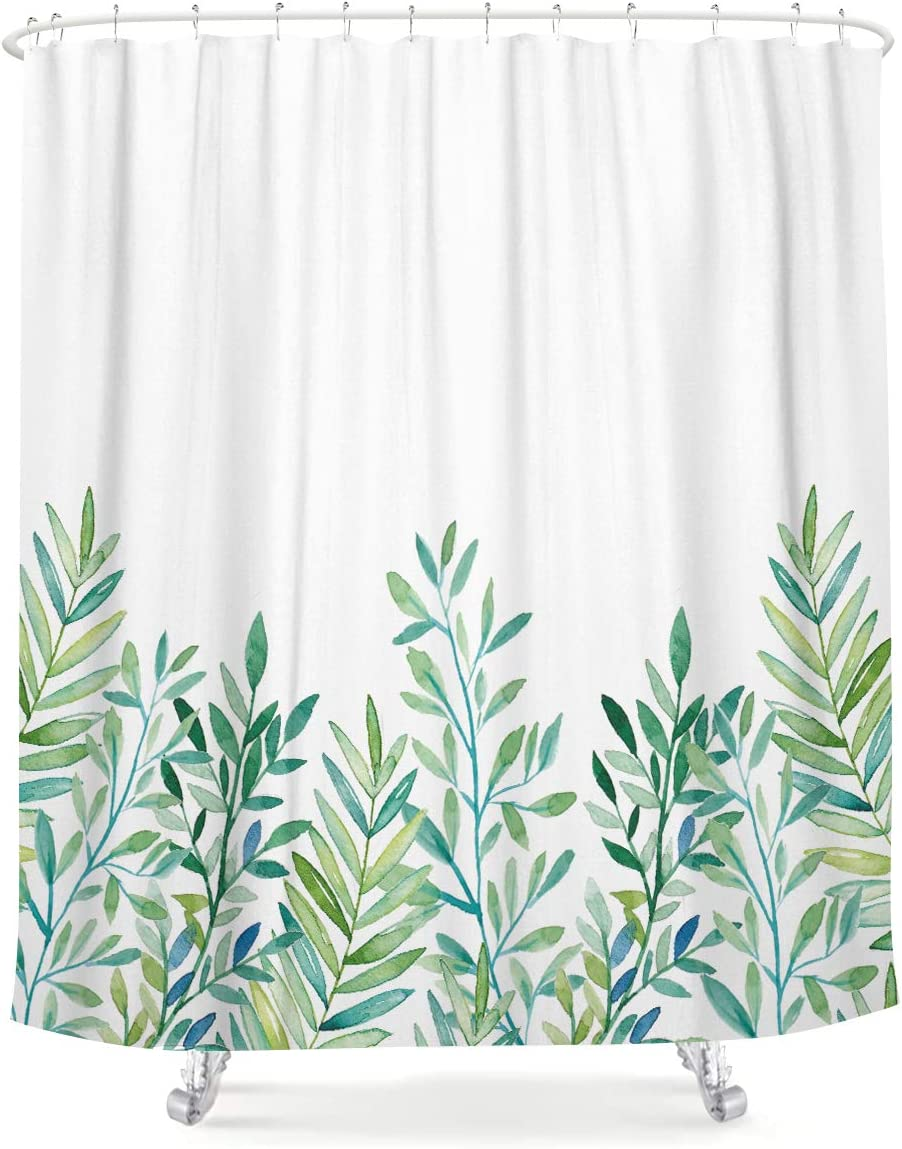 LIGHTINHOME Green Leaves Botanical Special Campaign National products Shower Curtain Cute Le Floral