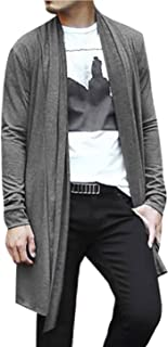 uxcell Men's Shawl Collar Drape Cape Lightweight Long Length Knit Cardigan Sweaters