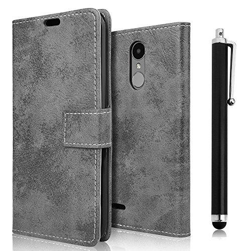 zStarLn LG K4 2017 Cover, Grigio Retro Portafoglio Protettiva Custodia in Pelle per LG K4 2017 Cover Caso PU Custodia + Stylus Pen + 3 Pellicola Protettiva