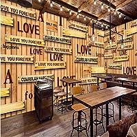 Iusasdz 写真の壁紙ヨーロッパアメリカ木製アルファベット壁画バーKtv背景壁壁画レストラン壁紙-350X250Cm